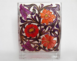 Handpainted glass vase flowers Red purple centerpiece Art nouveau style new home decor Birthday gift girlfriend wife women mom lady boss A9F