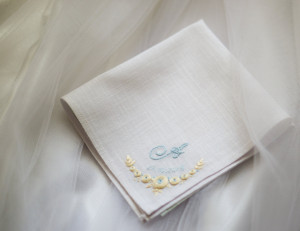 Something new and blue for bride, Wedding gift from parents, Bride gift from mom, Embroider handkerchief, Personalized gift, Mothers day