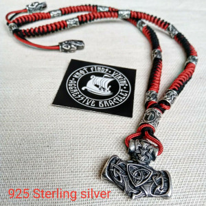 Mens necklace. Paracord necklace with 925 sterling silver beads. Mjolnir necklace. Celtic knot.