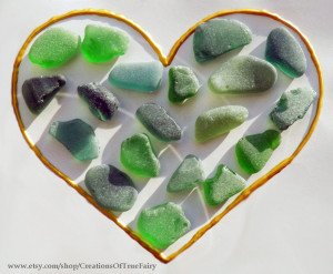 19 pcs Green sea glass Set of real sea glass for creations Craft supplies for crafts Homemade handcrafted handmade A9F SGL21