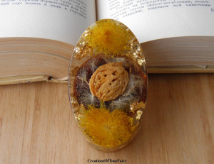 Paperweight display Boho gift for parents Dad birthday mom Yellow dandelion peach pit paper weight unique table decor Desk accessory A9F 30