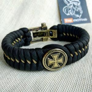 "Paracord bracelet ""TEMPLAR CROSS"". The original brutal bracelet made of Celtic knots and beads.  Scandinavian style."