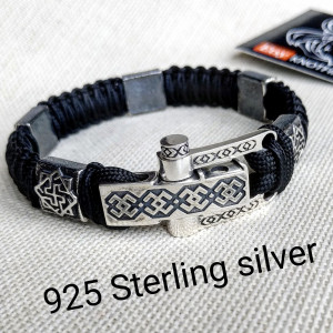 Paracord bracelet. Silver 925 Sterling bangle. Viking style.