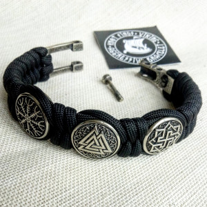 "Black Viking protective amulet with steel beads ""Valknut"", ""Valkyrie"", ""Horror shield"".  Men's style, a gift for tough men. Biker bracelet."