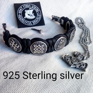 Silver 925 Sterling bracelet. Paracord bracelet. Viking protective amulet. Valknut. Helmet Horror. Kolovrat. Fern Flower. Square SVAROG.