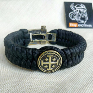 "Paracord bracelet ""JERUSALEM CROSS"". The original brutal bracelet made of Celtic knots and beads.  Scandinavian style."