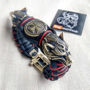 "Paracord bracelet with beads ""Wolf Head"" and ""Templar Cross"". Men's style, a gift for tough men. Biker bracelet."