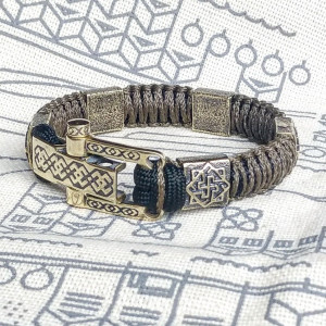"Celtic paracord bracelet with the symbol ""Valkyrie"".  Great gift for husband, boyfriend, man.  Viking style."