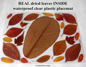 Waterproof placemat Dried leaf Vinyl kitchen table mat New house present Housewarming gift for her Brown yellow red placemat A9F 69