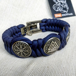 "Viking protective amulet with steel beads ""Valknut"", ""Valkyrie"", ""Horror shield"".  Men's style, a gift for tough men. Biker bracelet."