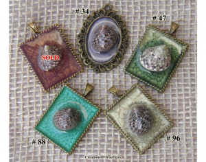 Sea shell pendant Godmother gift Unusual handmade pendants with natural sea shells Handmade bohemian hippy jewerly Green grey Gift ideas A9F
