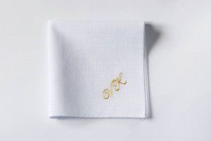 Personalized handkerchief with golden monogram, Monogrammed handkerchief, Groomsmen gifts, Linen anniversary, Personalized gift for guys