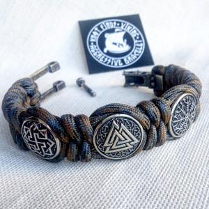 "Viking protective amulet with steel beads ""Valknut"", ""Valkyrie"", ""Horror shield"".  Men's style, a gift for tough men. Biker bracelet."