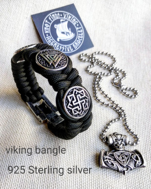 Silver 925 Sterling bracelet. Valknut. Valkyrie. Helmet Horror. Luxury paracord bracelet.Viking style.