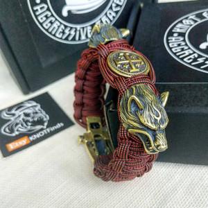 "Paracord bracelet ""CRUSADER"" with beads ""Wolf Head"" and ""Jerusalem cross"". Men's style, a gift for tough men. Biker bracelet."