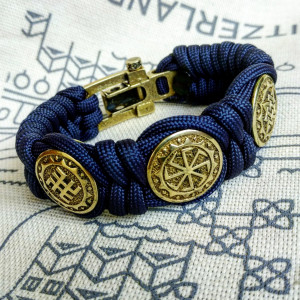 Viking  bracelet / Scandinavian  jewelry / navy blue bangle / paracord  bracelet / parachute  cord  / viking cuff  / biker bangle