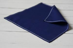 Navy blue handkerchief, Mens Handkerchief, Embroidered handkerchief, Cotton anniversary gift for him, Wedding gift, Groomsmen handkerchiefs