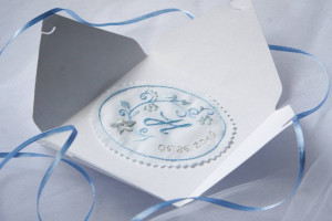 Wedding dress label as something blue for bride from maid of honor
