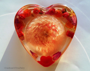 Pink heart paperweight Pink Anniversary gift for women Cool gift idea for her Desk decor Dandelion paperweight rose gift for mom A9F 32