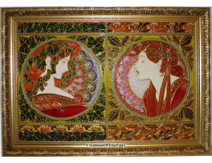 Glass painting Alphonse Mucha replica Ivy and Laurel Expensive painting Art nouveau style Anniversary gift for men who have everything A9F