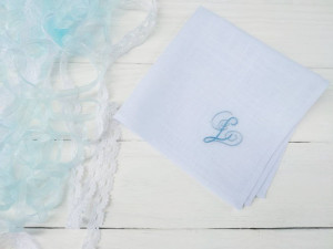 Something new and blue, Embroidered handkerchief, Wedding handkerchief, Personalized handkerchief, Bridesmaid gift, Best friend wedding gift