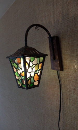 Lantern sconce, sea stained glass OOAK boho man cave accent lamp night light