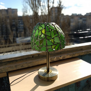 Green sea stained glass lamp, bedside table lamp, unique upcycled art