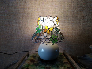 "Table lamp ""Flowers"", sea stained glass art - OOAK home boho decor"