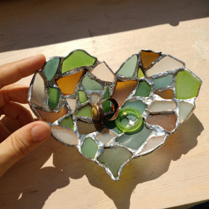 Heart ring dish, sea stained glass jewelry holder bowl ashtray - love gift, tealight candle holder