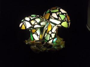 Mushrooms night light, sea stained glass art home decor, original upcycled figurine, wireless night lamp