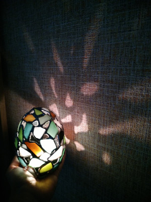 Easter egg candle holder, tealight dragon egg, sea stained glass