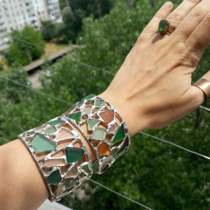 Sea glass wide cuff, stained glass big summer brutal bracelet, mosaic recycled beach glass art jewelry
