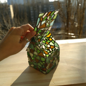Gingerbread house jewelry box / candle holder - sea stained glass mosaic