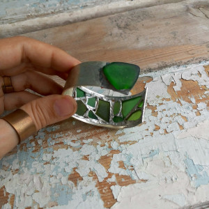 Sea glass green cuff, stained glass chunky brutal bracelet, mosaic recycled beach glass art jewelry