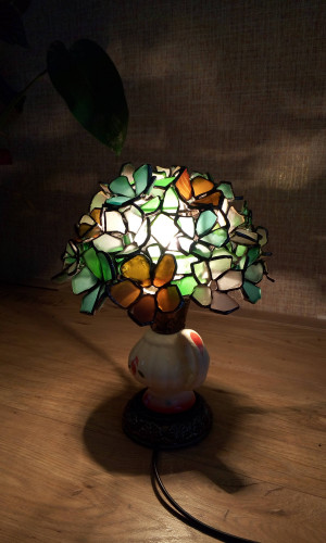 "Table lamp, 3D sea glass flowers, multycoloured accent ""Bouquet in a cup"" - unique upcycled gift"