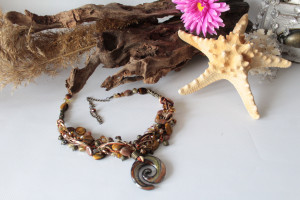 Tiger eye statement necklace, happy birthday gifts for mom, gift for wife, gifts for sister, birthstones gift, boho gift for girlfriend