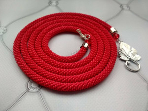 Red bead necklace Long beaded lariat