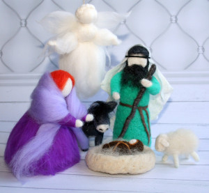 Nativity scene, Christmas composition from wool