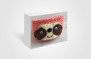 Easter  gift Crochet cotton basket with sloth ornament for nursery storage