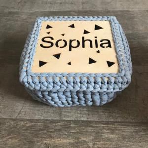 Сhristmas eve box, Sophia crochet square basket, birthday gift box for her