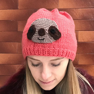 Slouchy knit hat with sloth ornament, sloth beanie, coral hat