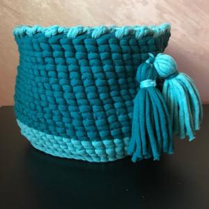 Nursery storage crochet  basket with tassels and handles, Laundry room decor