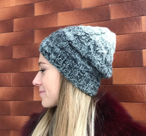 FREE SHIPPING. Multicolor gray cable knit hat, angora hat.