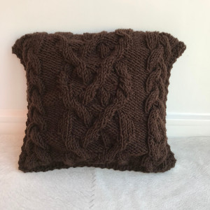 Chocolate chunky knit pillow 12x12, Wool knit pillow cover, Knitted cable pillow Gothic home decor Knitted cushion Travel pillow