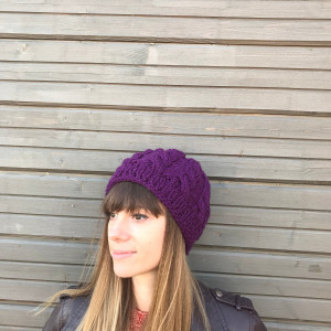 Cable knit hat, purple chunky knit hat, Christmas gift for sister