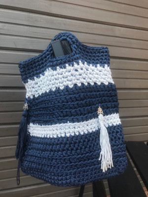 Crochet lunch and Tote bag with Tassels, Color block dark blue and gray every day bag