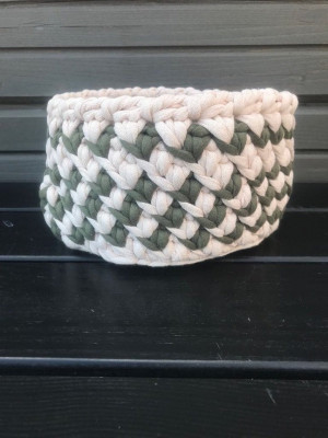Dorm room decor, colorful cotton knitted round basket, medical student gift