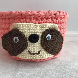Sloth gift, crochet round basket, cotton crochet bowl