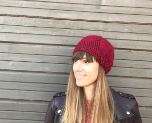 Knitted Red hat with crochet flower decor, elegant women autumn angora hat