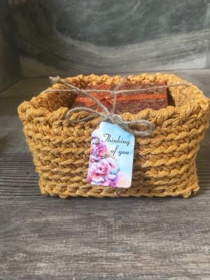 Christmas eve box, Crochet square gold tone cotton basket